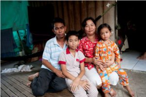 Pov Bopha (left) and his wife Khun Sophea with son Piset and daughter Puthida. Another son Chan Bora is not in the picture.