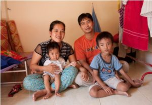 Norng Chansachak Neary (left) and her husband Khun Mony with sons Darareach and Daravuth.