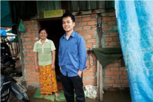 Nuth Sideth (right) and his mother RosSabeth outside his uncle's house in Phnom Penh.